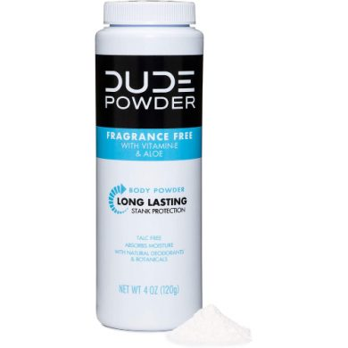 buy DUDE Body Powder, Fragrance Free 4 Ounce Bottle Natural Deodorizers With Chamomile & Aloe, Talc Free Formula, Corn-Starch Based Daily Post-Shower Deodorizing Powder for Men from sbcornerstore.com