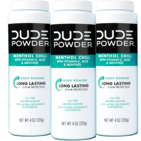 buy DUDE Body Powder, Menthol Chill 4 Ounce (3 Bottle Pack) Natural Deodorizers Cooling Menthol & Aloe, Talc Free Formula, Corn-Starch Based Daily Post-Shower Deodorizing Powder for Men from sbcornerstore.com