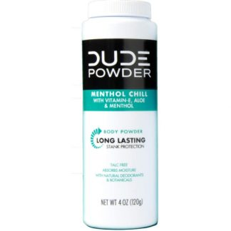 buy DUDE Body Powder, Menthol Chill 4 Ounce Bottle Natural Deodorizers Cooling Menthol & Aloe, Talc Free Formula, Corn-Starch Based Daily Post-Shower Deodorizing Powder for Men from sbcornerstore.com
