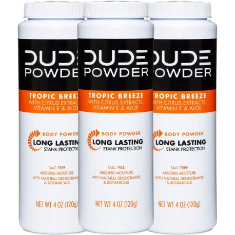 buy DUDE Body Powder, Tropic Breeze 4 Ounce (3 Bottle Pack) Natural Deodorizers With Citrus Extracts & Aloe, Talc Free Formula, Corn-Starch Based Daily Post-Shower Deodorizing Powder for Men from sbcornerstore.com