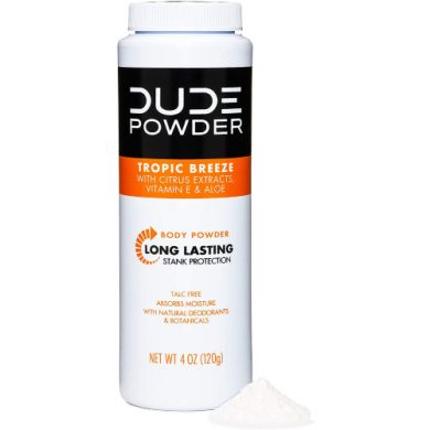 buy DUDE Body Powder, Tropic Breeze 4 Ounce Bottle Natural Deodorizers With Citrus Extracts & Aloe, Talc Free Formula, Corn-Starch Based Daily Post-Shower Deodorizing Powder for Men from sbcornerstore.com
