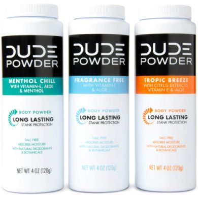 buy DUDE Body Powder Variety Pack, Tropic Breeze, Menthol Chill & Fragrance Free 4 Ounce (3 Bottle Pack) Natural Deodorizers, Talc Free, Corn-Starch Based Daily Post-Shower Deodorizing Powder for Men from sbcornerstore.com