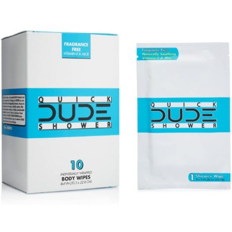 buy DUDE Shower Body Wipes 10 Count Wet Wipes Individually Wrapped for Travel Unscented Naturally Soothing Aloe and Hypoallergenic, Portable Travel-Sized Individual Cleansing Cloths for Men from sbcornerstore.com